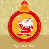 圣诞球、 明信片圣诞老人 — 图库矢量图片