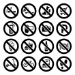 Set prohibited symbols, shop black signs - Stock Vector