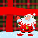 Santa and big present — Stock Vector #7492693