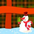 Snowman with Christmas tree near a big present — Stock Vector