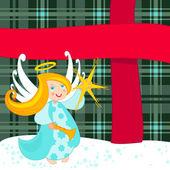 Christmas angel and big present — Stock Vector
