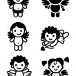Cupids set, collection angels — Imagen vectorial