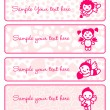 Cupids banner set, collection angels — Imagens vectoriais em stock