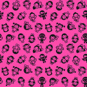 Cupids set, black on pink background, wrapping paper — Stock Vector