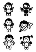 Cupids küme, koleksiyon angels — Stok Vektör