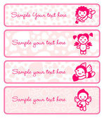 Cupids banner set, collection angels — Vettoriale Stock