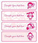 Cupids banner set, samling änglar — Stockvektor