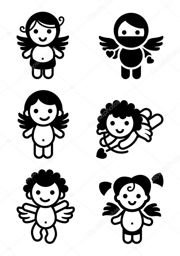 Cupids set, collection angels — Stock Vector #7715811