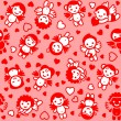 Cupids set, red icons, wrapping paper — Stockvektor
