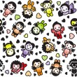 Cupids set, color icons, wrapping paper — 图库矢量图片