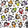 图库矢量图片: Cupids set, color icons, wrapping paper