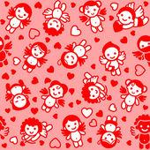 Conjunto de cupidos, iconos rojos, papel de envolver — Vector de stock