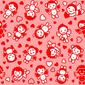 Cupids set, red icons, wrapping paper — Cтоковый вектор