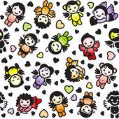 Conjunto de cupidos, iconos de colores, papel de embalaje — Vector de stock