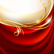 Red fabric curtain on gold background — Stock Vector