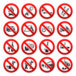 Set icons Prohibited signs Nature symbols — Stock Vector