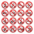 Set icons Prohibited signs Nature symbols — Stock Vector #7958041