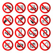 Set ban icons Prohibited symbols Industrial hazard signs Vector — Stock vektor