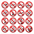 Set icons Prohibited symbols Office black signs — Stock Vector