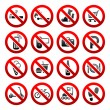 Set icons Prohibited symbols Shop signs — Stock Vector