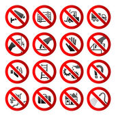 Set ban icons Prohibited symbols Industrial hazard signs Vector — Stock Vector