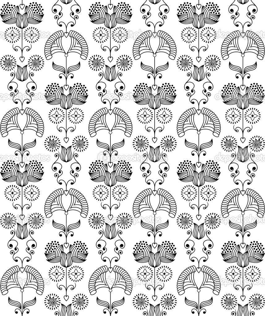 Seamless pattern in the style art nouveau.  Stock Vector #6863014