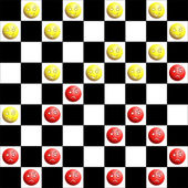 Red and yellow checkers — Stock Vector