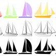 Set of yachts_2 — Stockvektor