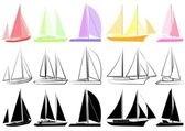 Set of yachts_2 — Stock Vector