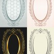 Stock vektor: Vertical frame in antique style. Oval