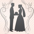 Silhouettes of the bride and groom_image — Stock Vector #7582456