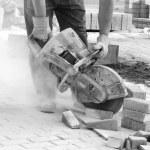 Cutting concrete — Stock Photo