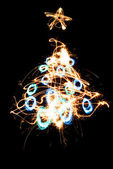 Sparkler X-mas tree. — Stock Photo