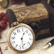 Stock Photo: Antique Retro Pocket Clock and decoration objects