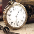 Antique Retro Pocket Clock and decoration objects — Photo