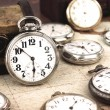 Antique retro silver pocket clocks — Foto Stock