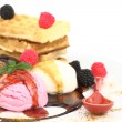 Waffles with vanilla, strawberry and chocolate ice cream — Stock Photo #6821723