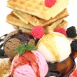 Waffles with vanilla, strawberry and chocolate ice cream — Stock Photo