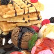 Waffles with vanilla, strawberry and chocolate ice cream — Stock Photo #6821753
