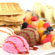 Waffles with ice cream and fruits — Stock Photo #6821788