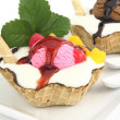 Waffle bowl with ice sream — Stock Photo
