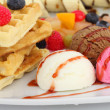 Waffles with ice cream and fruits — Stock Photo