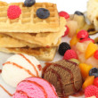 Waffles with ice cream and fruits — Stock Photo #6821819