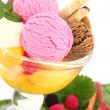 Ice cream and fruits in a bowl — Stock Photo