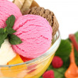 Stock Photo: Ice cream and fruits in a bowl