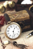 Antique Retro Pocket Clock and decoration objects — Stock Photo