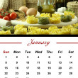 Monthly Pasta Calendar. January 2012 — Stock Photo