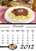Monthly Pasta Calendar. November 2012 — Stock Photo