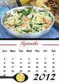 Monthly Pasta Calendar. September 2012 — Stock Photo