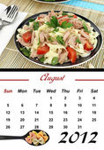 Monthly Pasta Calendar. August 2012 — Stock Photo
